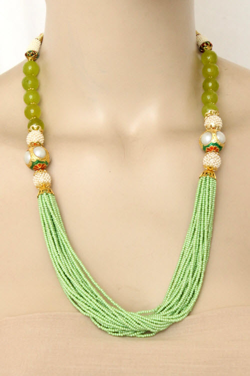 Pista Green Designer 23.5k Gold Plated Moti Mala (Necklace) 12777