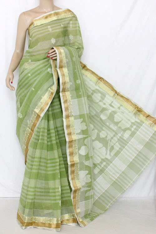 Pista Green Handwoven Bengal Tant Cotton Saree (Without Blouse) 13033