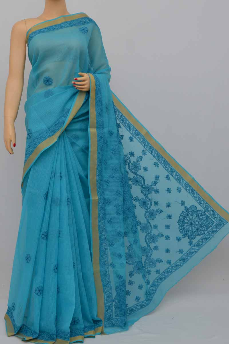 Blue Color Kota Cotton Hand Embroidered Lucknowi Chikankari Saree (With Blouse - Cotton) MY250420