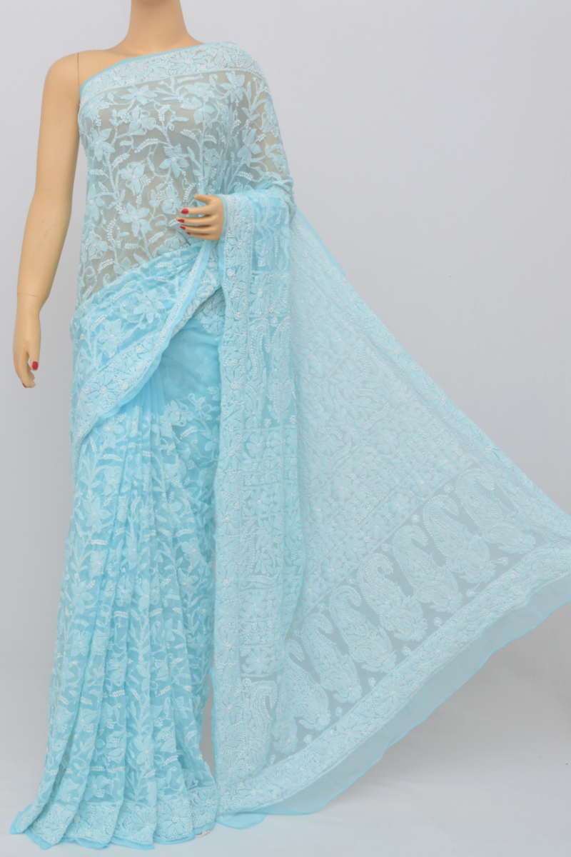 Blue Color, Allover Jaal Heavy Palla Hand Embroidered Lucknowi Chikankari Saree (With Blouse - Georgette) MC250516
