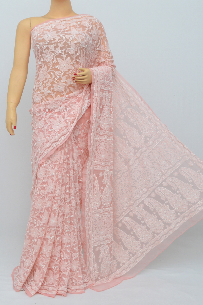 Peach Color, Allover Jaal Heavy Palla Hand Embroidered Lucknowi Chikankari Saree (With Blouse - Georgette) MC250517