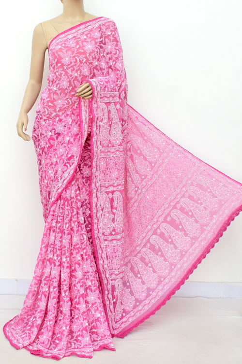 Pink Hand Embroidered Allover Jaal Lucknowi Chikankari Saree (Georgette-With Blouse) 14701