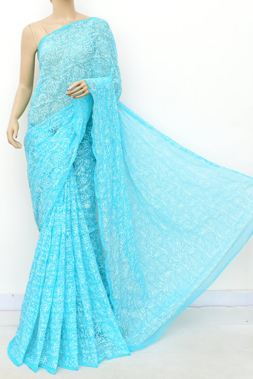Blue Hand Embroidered Allover Tepchi Lucknowi Chikankari Saree (georgette-with Blouse) 14937