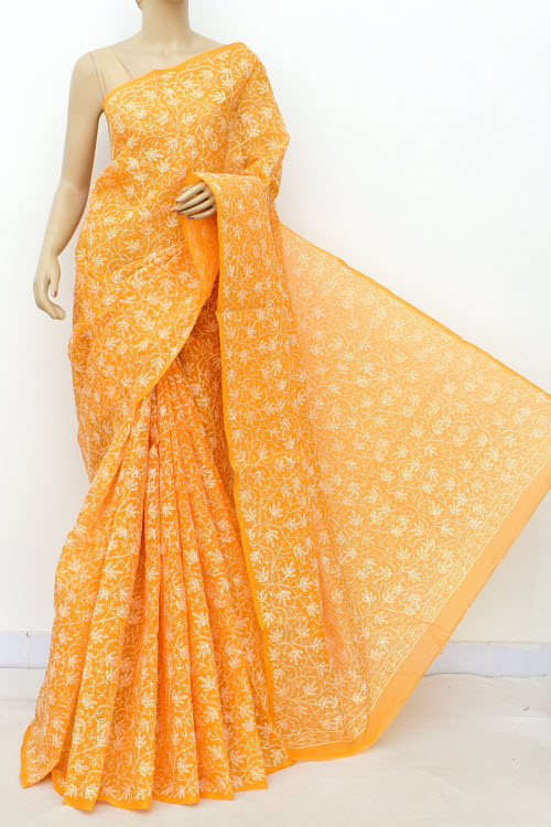 Orange Allover Cotton Tepchi Hand Embroidered Lucknowi Chikankari Saree (Cotton-With Blouse) 14942