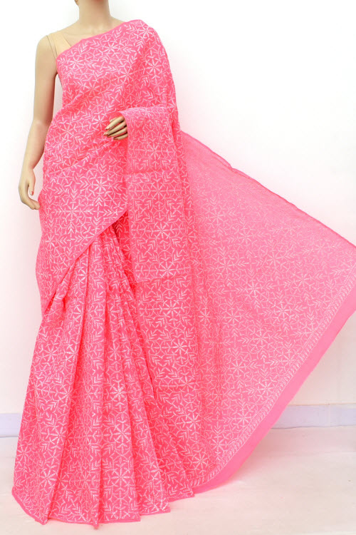 Peach Allover Cotton Tepchi Hand Embroidered Lucknowi Chikankari Saree (Cotton-With Blouse) 14943