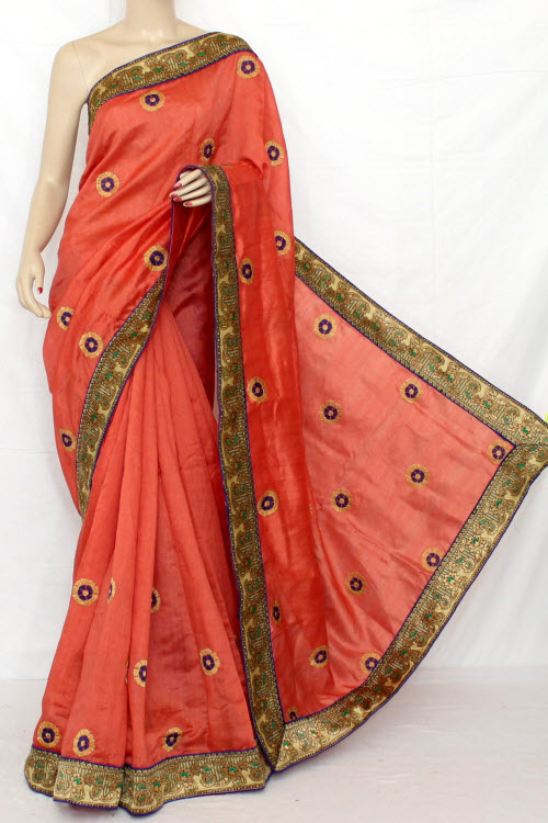 Exclusive Embroidered Saree (With Contrast Blouse) 13294