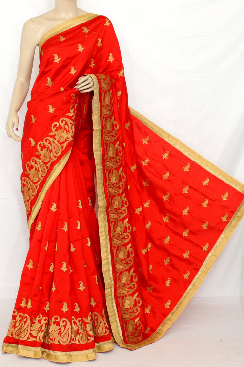 Exclusive Embroidered Saree (With Blouse) 13296