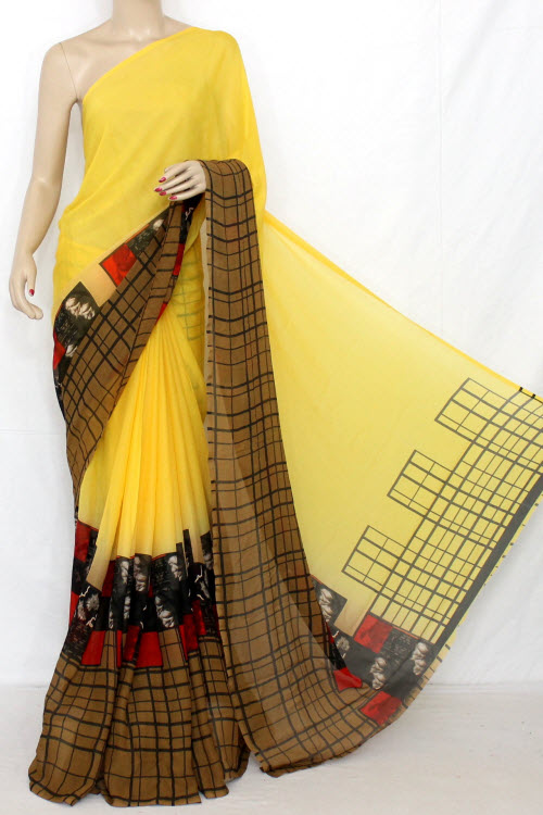 Deep Yellow Printed Fine Quality Georgette Saree (with Blouse) 13318