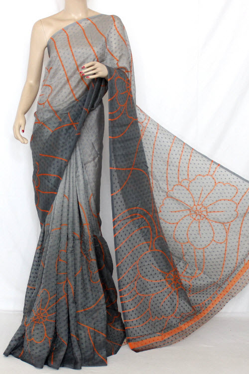 Grey Exclusive Manipuri Check Printed Art Silk Saree (with Blouse) 13324