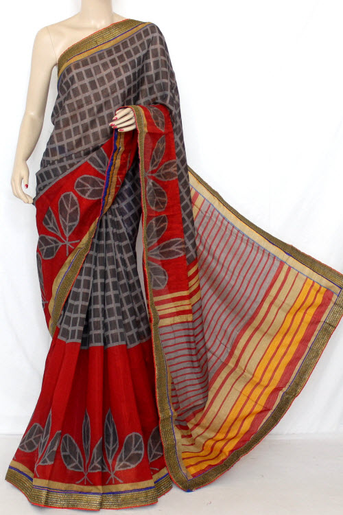 Grey Red Designer Printed Cot - Silk Saree (with Contrast Blouse) 13331