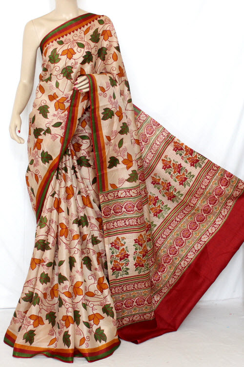 Fawn - Red Printed Tusser Art Silk Printed Saree (With Blouse) 13360