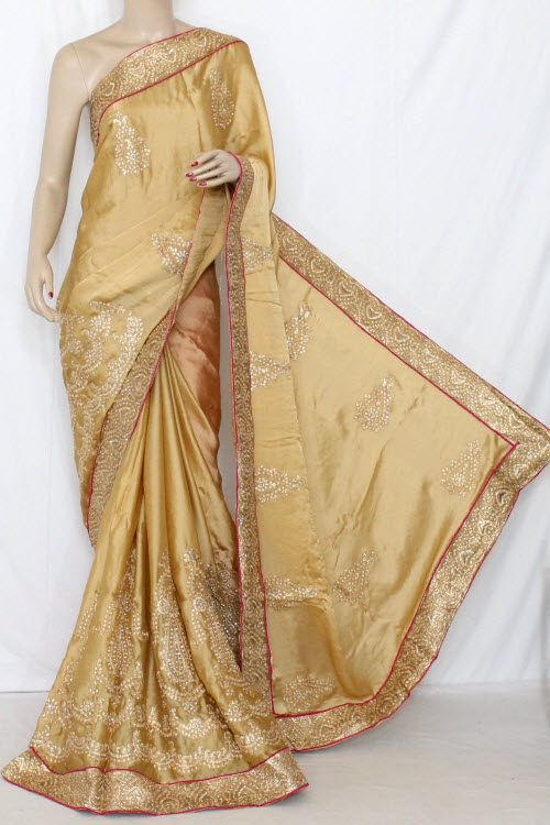 Fawn Exclusive Embroidered Saree Georgette Fabric (with Contrast Blouse) 13365