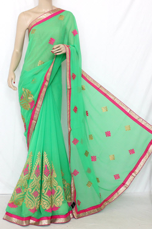 Parrot Green Exclusive Embroidered Saree Dupion Silk Fabric (With attached Blouse) 13369