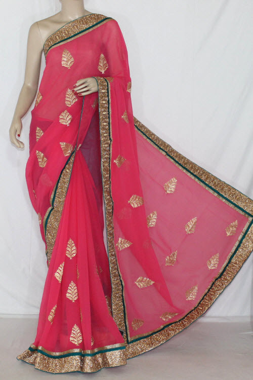 Rani Color Exclusive Embroidered Saree Crepe Georgette Fabric (with Contrast Blouse) 13392