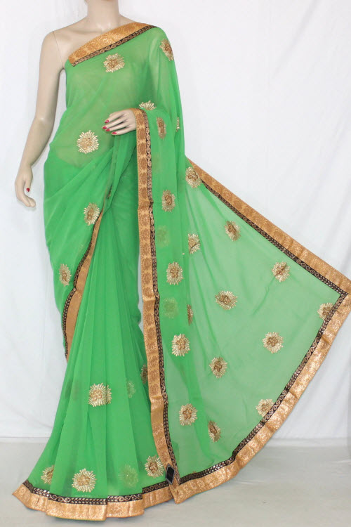 Parrot Green Embroidered Saree Crepe Georgette Fabric (With Unstitched Blouse) 13395