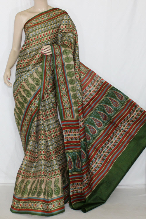 Green Bobby Print Tusser Art Silk Printed Saree (With Blouse) 13415