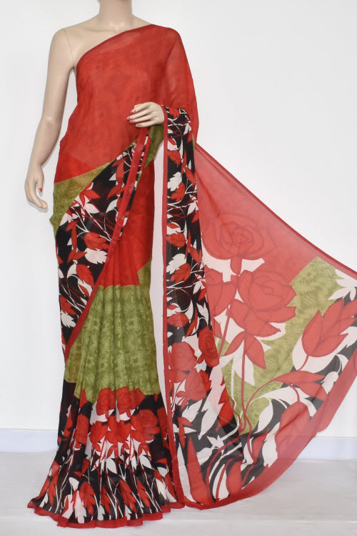 Red Menhdi Green Printed Wrinkle Georgette Saree (With Blouse) 13423