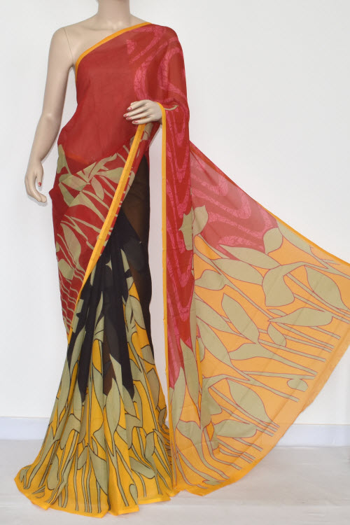 Red Yellow Printed Wrinkle Georgette Saree (With Blouse) 13426