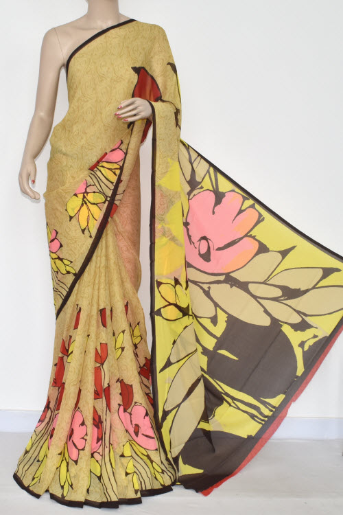 Yellow Printed Fine Quality Georgette Saree (With Blouse) 13427