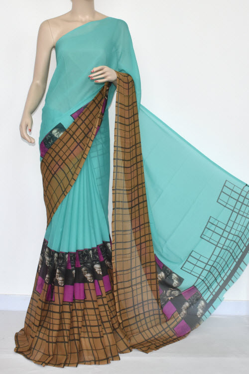 Light Cyan Brown Printed Wrinkle Georgette Saree (With Blouse) 13432