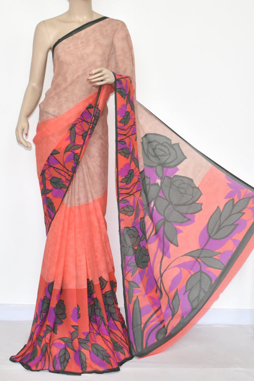 Peach Color Printed Wrinkle Georgette Saree (With Blouse) 13433