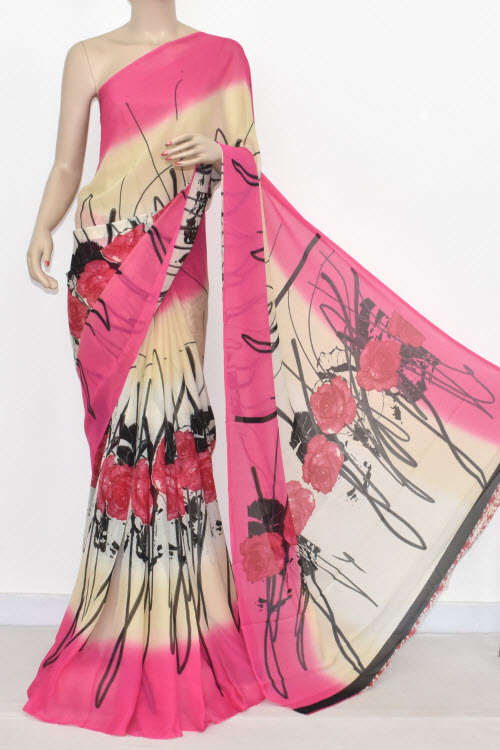 Cream Pink Printed Wrinkle Georgette Saree (With Blouse) 13435