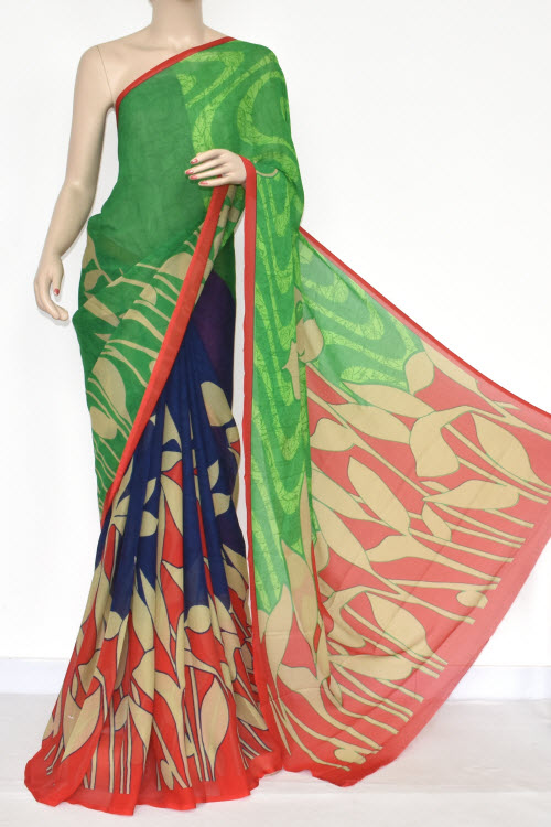 Green Blue Red Printed Wrinkle Georgette Saree (With Blouse) 13436