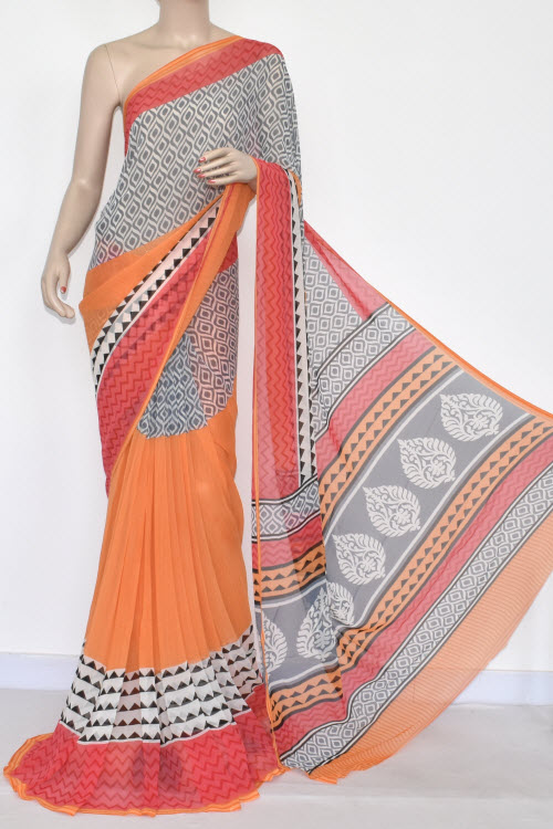Orange Printed Mul-Mul Georgette Saree (With Blouse) 13438