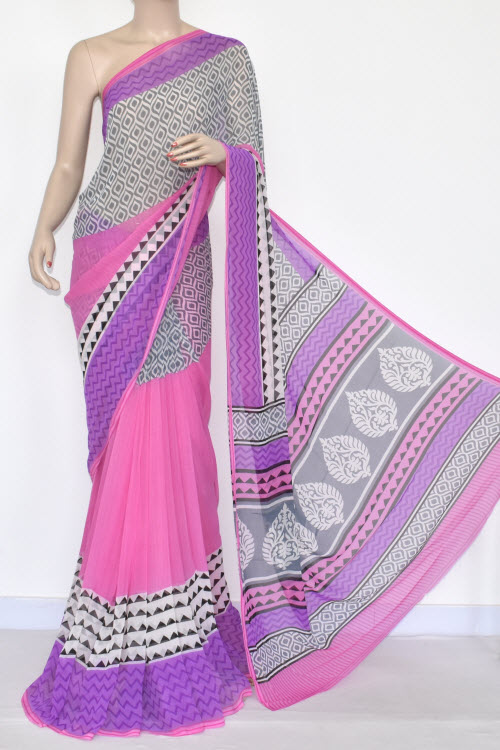 Pink Printed Mul-Mul Georgette Saree (With Blouse) 13439