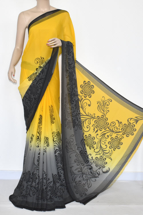 Yellow Grey Printed Wrinkle Georgette Saree (With Blouse) 13441