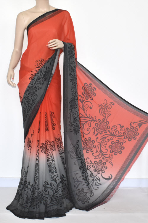 Red Grey Printed Wrinkle Georgette Saree (With Blouse) 13442