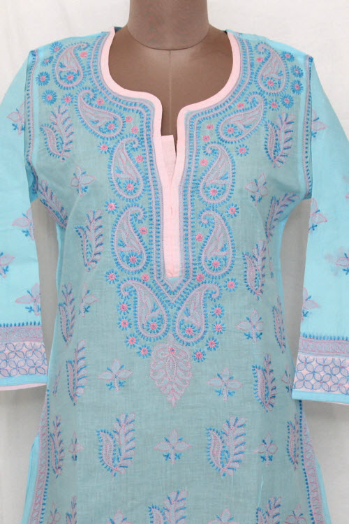 Blue Hand Embroidered Lucknowi Chikankari Long Kurti (Cotton) Bust-42 inch 13722