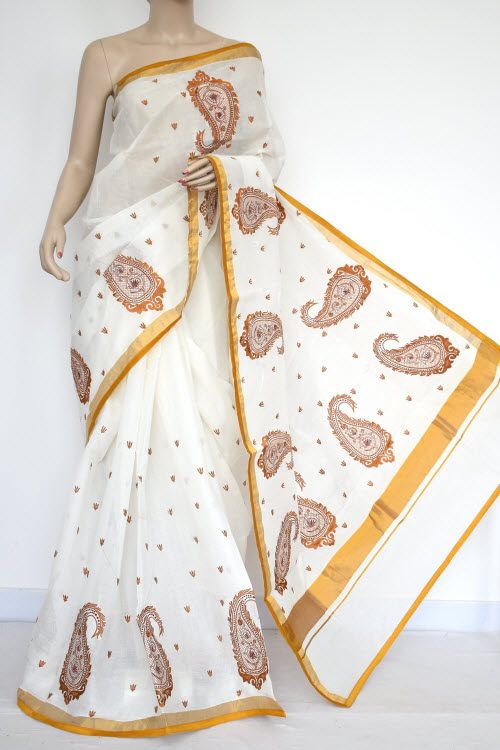 Off-White, Mustared Embroidered Kerala Cotton Handloom Saree (With Blouse) 13776