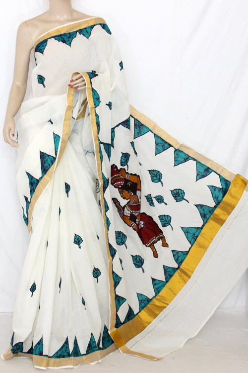 Off-white Pherozi Applique Work Kerala Cotton Handloom Saree (with Blouse) 13789