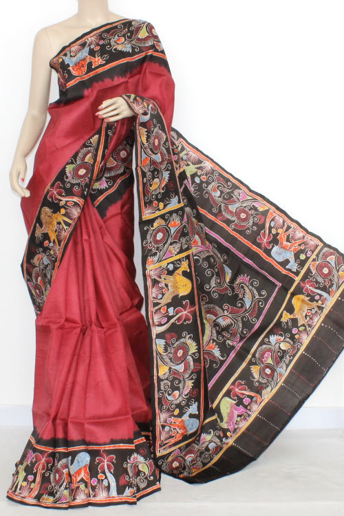 Maroon Designer Hand-Printed Double Knitted Bishnupuri Pure Silk Saree (With Blouse) 13810