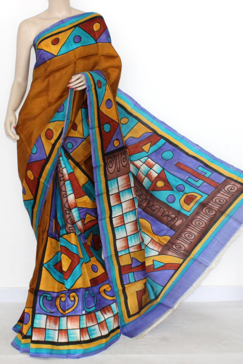 Mustared Blue Designer Handprinted Double Knitted Bishnupuri Pure Silk Saree (With Blouse) 13819