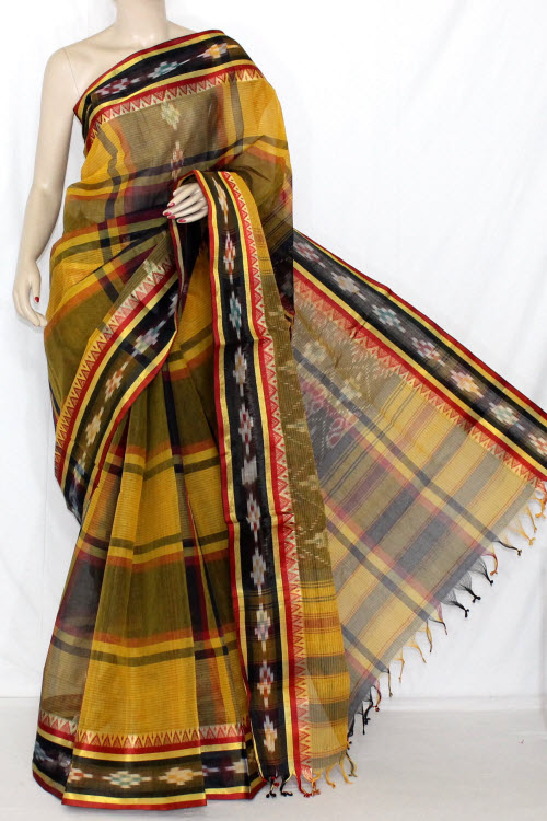 Yellow Black Handwoven Dhaniakhali Bengali Tant Cotton Saree (Without Blouse) 13941