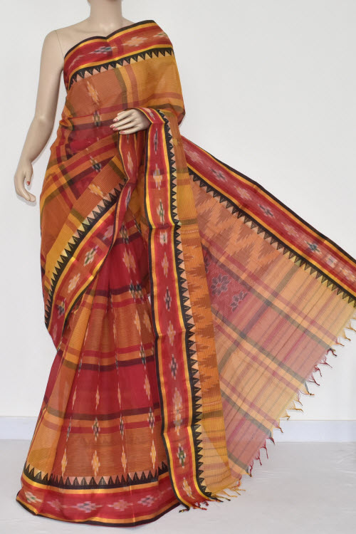 Golde Yellow Red Check Handwoven Dhaniakhali Bengali Tant Cotton Saree (Without Blouse) Pocham Palli 13942