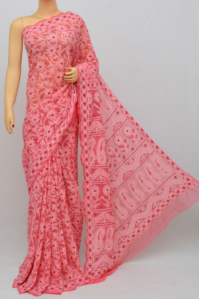 Punch Color Allover Jaal Heavy Palla Hand Embroidered Lucknowi Chikankari Saree (With Blouse - Georgette) SS250268