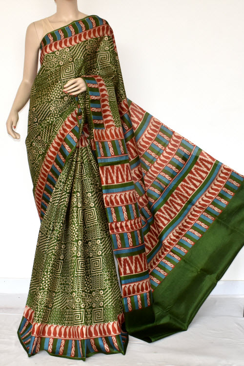 Green Tusser Art Silk Printed Saree (with Blouse) 13445