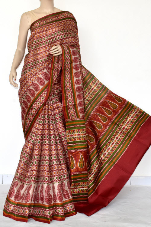 Maroon Tusser Art Silk Printed Saree (With Blouse) 13462