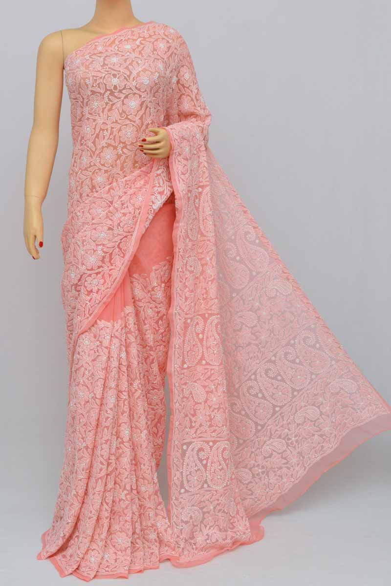 Rose Color Allover Jaal Heavy Palla Hand Embroidered Lucknowi Chikankari Saree (With Blouse - Georgette) SM250354