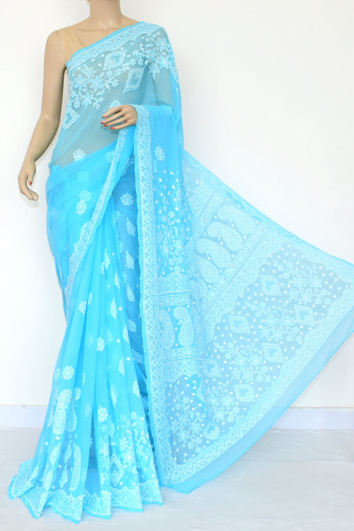 Turquoise Hand Embroidered Lucknowi Chikankari Saree (Georgette-With Blouse) 14652