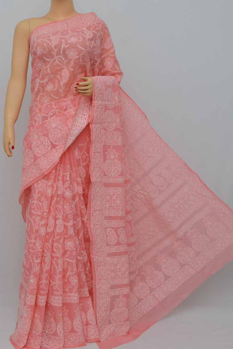 Peach Color Allover Hand Embroidered Cotton Border Lucknowi Chikankari Saree (With Blouse) SM250426