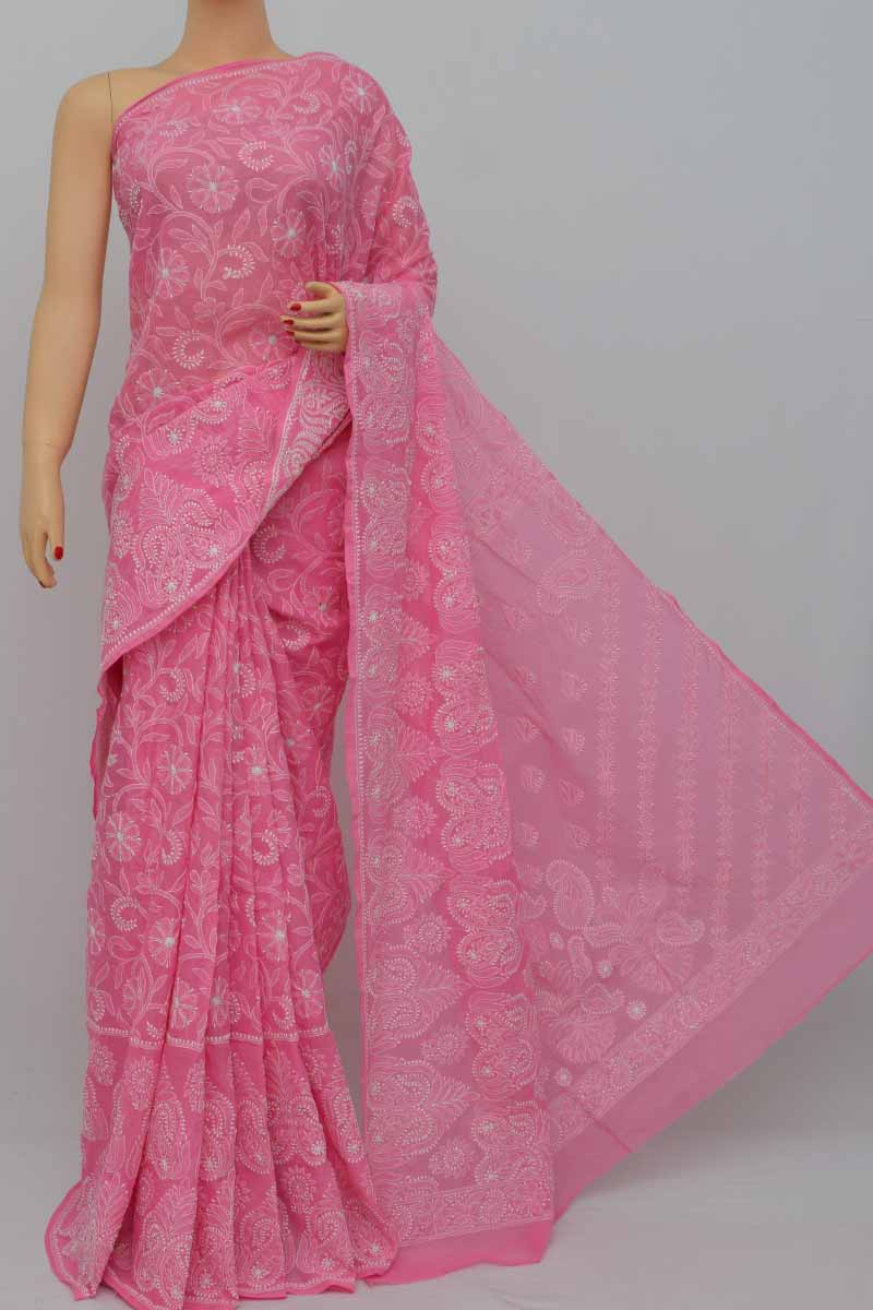 Melon Pink Color Allover Hand Embroidered Cotton Lucknowi Chikankari Saree (With Blouse) SM250427