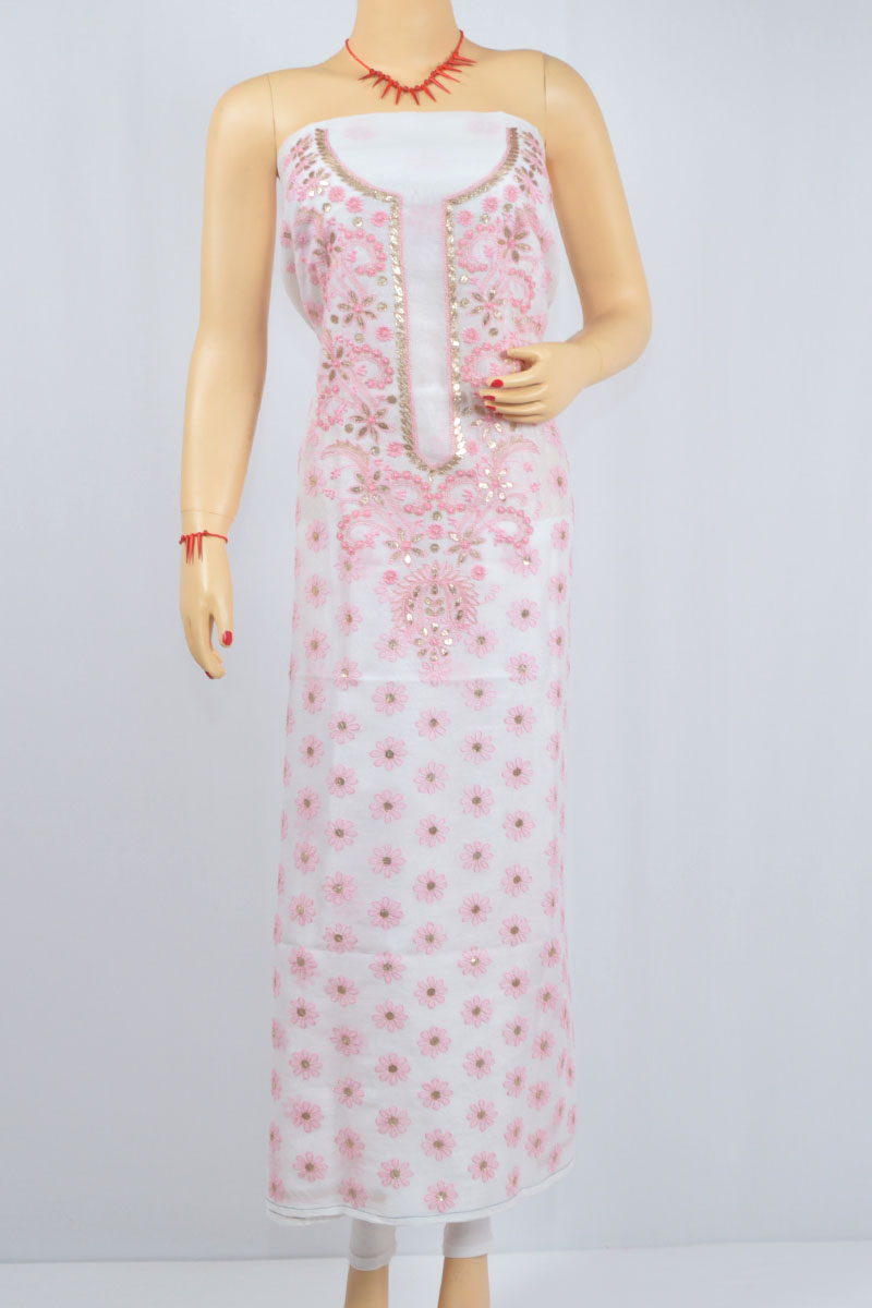 White Color-Pink Hand Embroidered Lucknowi Chikankari Kurti (Chanderi Cotton) - MCK400023