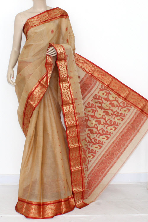 Fawn Red Handwoven Bengal Tant Cotton Saree (Without Blouse) Zari Border 14103