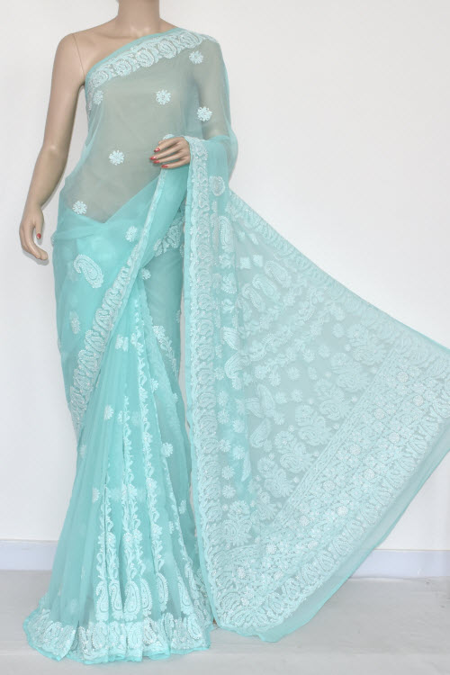 Sea Green Hand Embroidered Lucknowi Chikankari Saree (With Blouse - Georgette) 14383