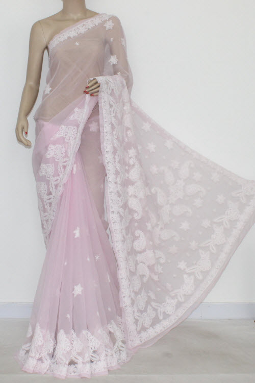 ed4bebafc1 Baby Pink Hand Embroidered Lucknowi Chikankari Saree (With Blouse -  Georgette) 14417