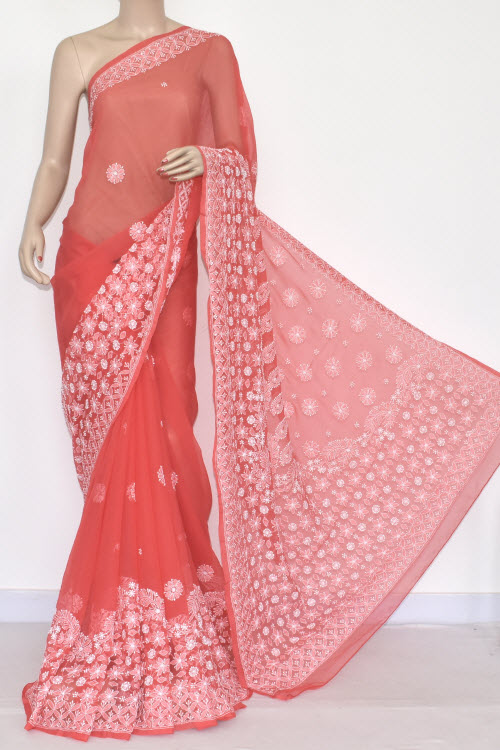 Gajari Hand Embroidered Lucknowi Chikankari Saree (with Blouse - Georgette) 14425